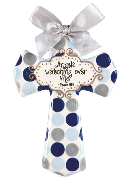angels watching over me ceramic cross nursery decor wall baby little boy male blue grey polka dot bible verse psalm inspirational