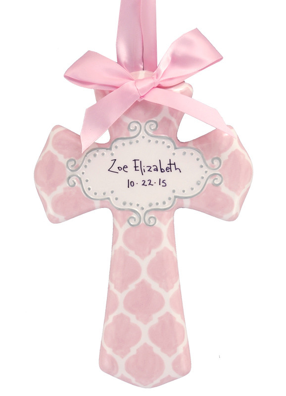Personalized Pink Quatrefoil Ceramic Cross Unique Baby