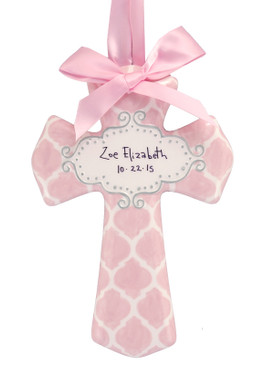 customized personalized ceramic cross pink  quatrefoil nursery accent decor baby girl shower gift religious