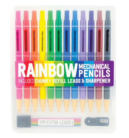rainbow colored mechanical pencil set refillable chunky lead refills sharpener cute stocking stuffer creative artsy gift teen tween little boy girl kids
