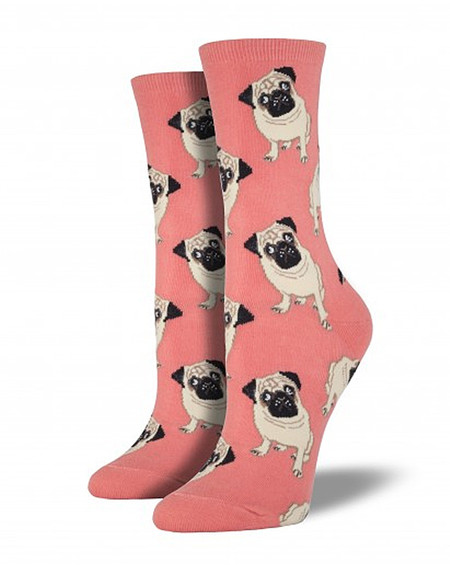 pug dog puppy printed novelty fashion womens girls socks cotton blend stocking stuffer pet owner lover peach coral pink graphic whimsical