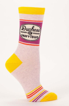 duchess of sassytown cotton crew socks stocking stuffer funny gift teen girlfriend humorous