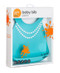 adjustable silicone girl baby bib easy clean up dishwasher safe pearls blue