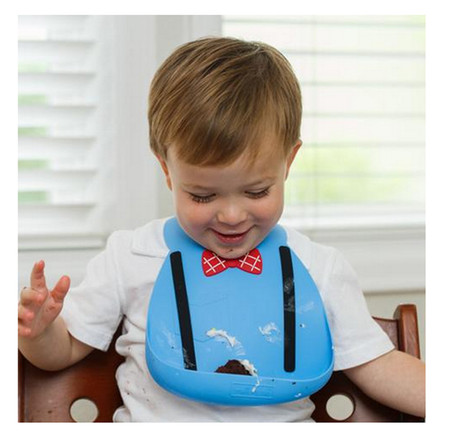 little genius blue baby boy adjustable silicone bib bow tie suspenders unique cute shower gift new mom