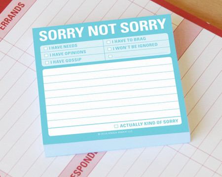 sorry not sorry funny cute whimsical sarcastic cheeky sticky post it note