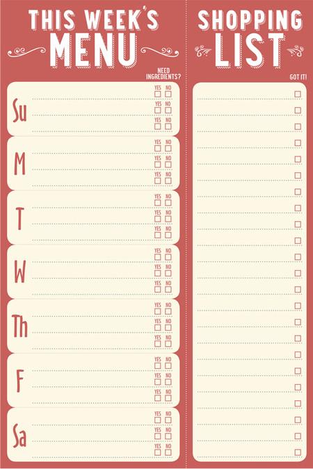 This Weeks Menu Note Pad Menu Meal Planning Planner List For
