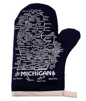 Michigan Oven Mitt - Navy and White