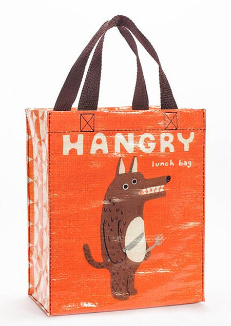 blue q post consumer eco friendly recycled tote lunch bag hangry hungry funny whimsical cute hilarious back to school kids stocking stuffer teen boy girl