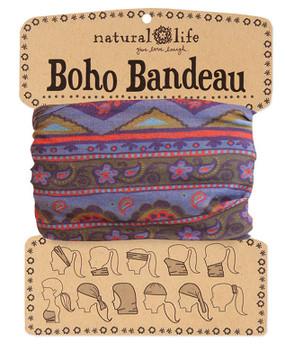 boho bohemian hair bandeau accessory scarf teen young girl woman stocking stuffer gift olive green blue purple zig zag print whimsical