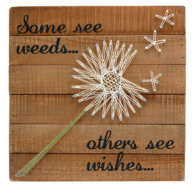 some see weeds others see wishes inspirational whimsical pallet wall  artwork sting art retro vintage dandelion flower rustic home decor gift for mom grandma girlfriend person that has everything