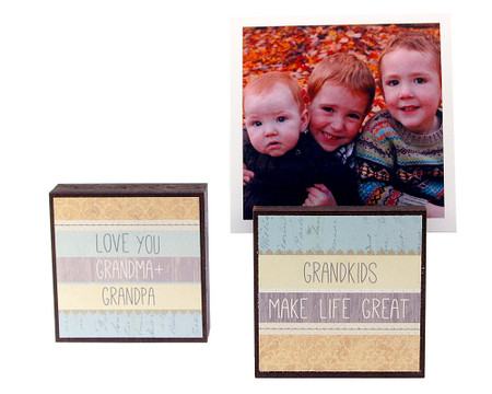 grandkids photo block frame whimsical cute gift for grandparents grandpa grandmother reversible