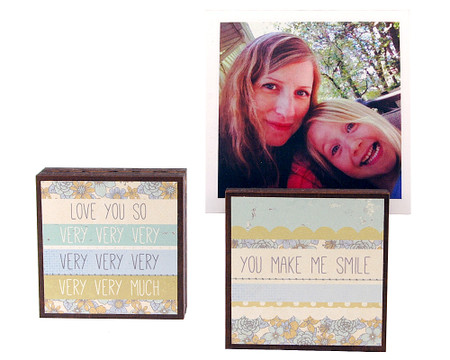 you make me smile photo frame block whimsical  couple boyfriend girlfriend husband wife kids gift for grandma mom mothers day
