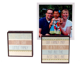 love our little family photo block frame whimsical cute gift for mom wife reversible quote saying sentiment