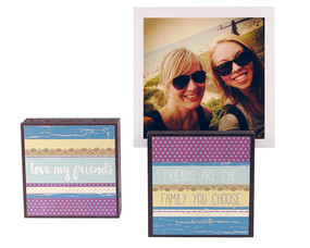love my friends photo frame block whimsical reversible cute quote saying sentiment