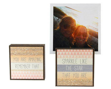sparkle like the star that you are photo frame block whimsical  graduation reversible quote sentiment saying