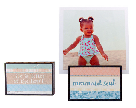 mermaid soul beach summer vacation photo frame block whimsical gift reversible quote sentiment holds multiple photos