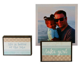 lake girl beach summer vacation photo frame block whimsical gift reversible quote sentiment holds multiple photos