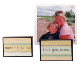 love you mom photo frame block whimsical gift reversible quote sentiment holds multiple photos mothers day mommy and me