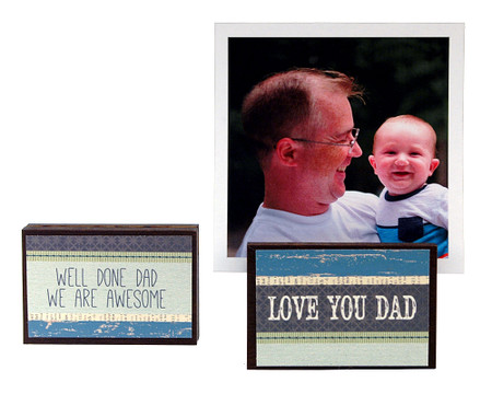 love you dad well done dad we are awesome photo frame block whimsical gift reversible quote sentiment holds multiple photos fathers day gift stocking stuffer daddy