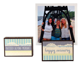 happy memory blessed beyond measure photo frame block whimsical gift reversible quote sentiment holds multiple photos inspirational bff best friend family