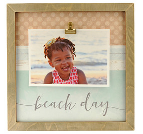 beach day rustic large clip frame summer travel kids handmade coastal nautical
