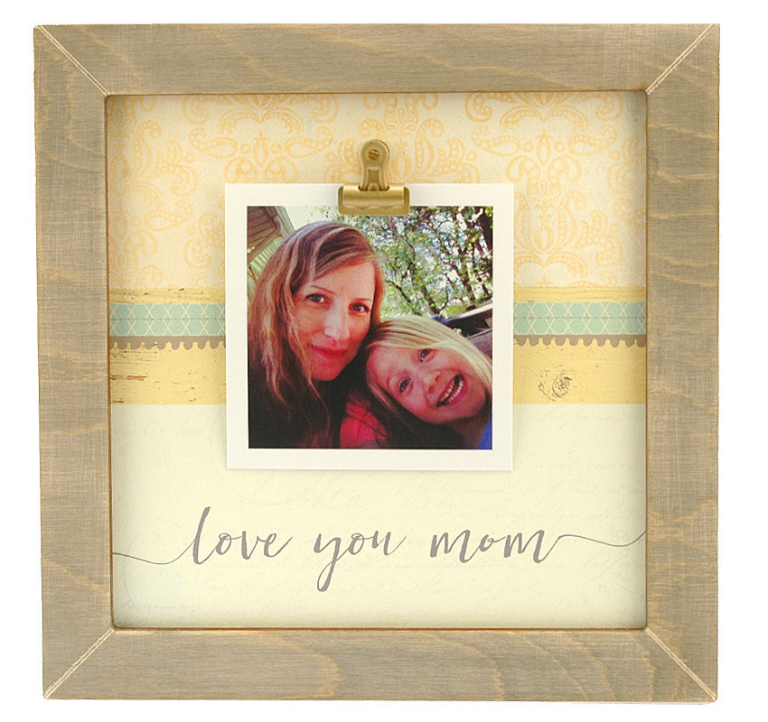Love You Mom Medium Rustic Clip Frame Personalized Frame