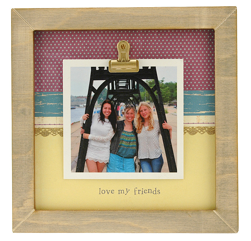 Love My Friends Small Rustic Clip Frame Personalized Frame
