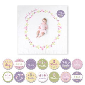 baby's first year blanket and card set, baby girl, flowers