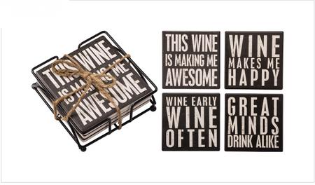 coasters,wine,wine lover,stone,4 pack