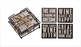 coasters,wine,wine lover,stone,4 pack