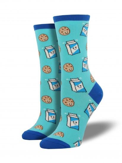 milk and cookies, socks, blue