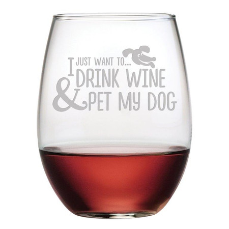 stemless, wine glass, wine, dog, pet, dogs