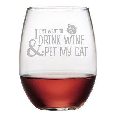 stemless, wine glass, wine, cat, pet, cats