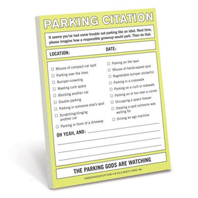 parking citation, funny, sticky notes, prank