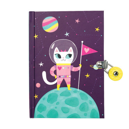 diary, space cat, locked diary, gift for girls