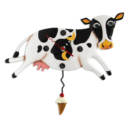 clock, whimsical, allen designs, cute, cow