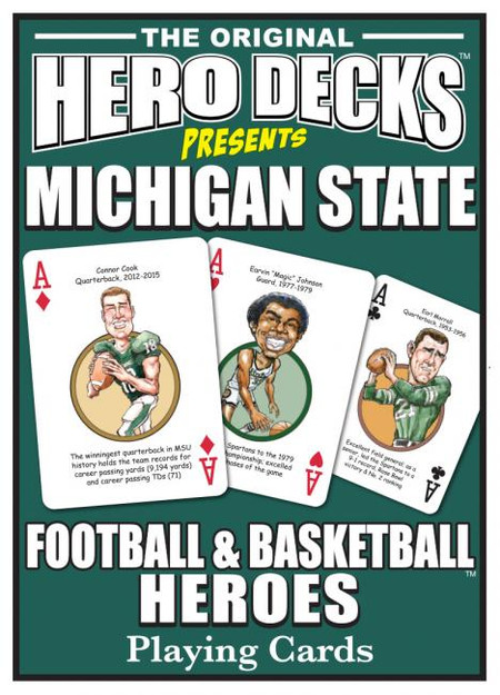 sports, playing cards, cards, hero deck, msu, michigan state, spartans, football, basketball