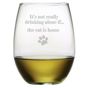 Not Drinking Alone Cat Wine Glass