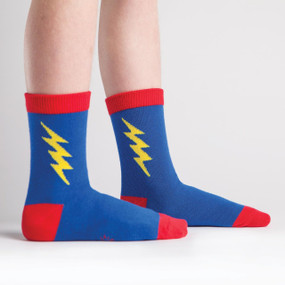 kids socks, superheroes, socks for children, lightning bolt, fun socks