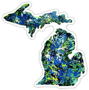 sticker, michigan, michigan pride, watercolor