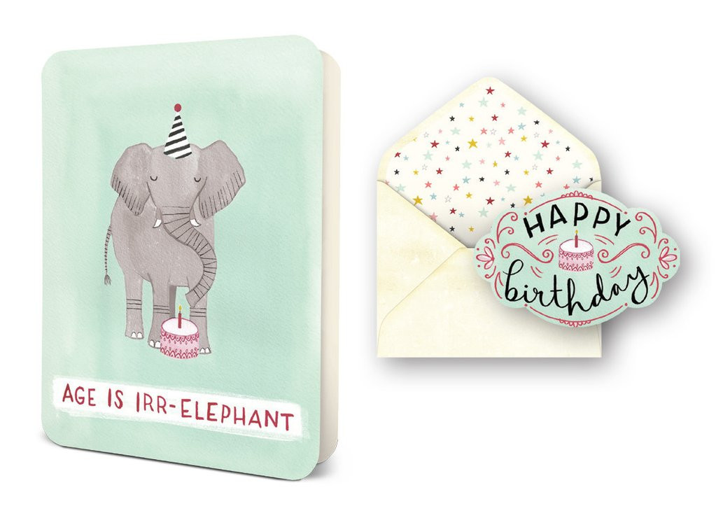 Age Is Irr Elephant Card Celebration Greeting Cards Studio Oh