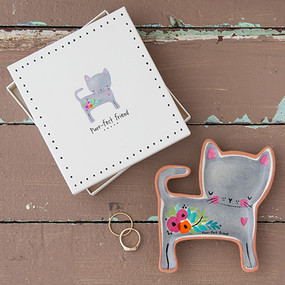 Cat shaped trinket dish with sweet sentiment. Comes in a box for easy gifting! Sentiment: Purr-fect Friend  terra cotta  4in L x 4in W