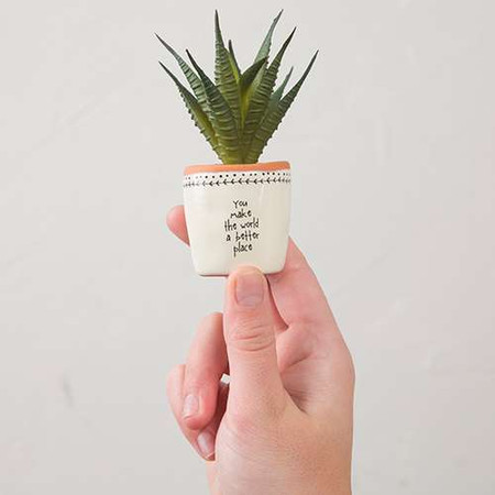you make the world a better place succulent, faux, tiny, home decor, garden accessories, inspirational