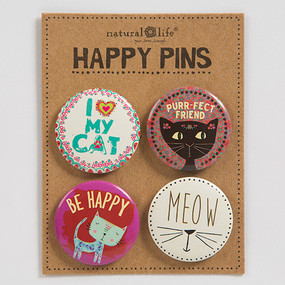 i heart my cat happy pins, cat lover, pets, animal lover, crazy cat lady, accessories, whimsical, love. Natural Life. Dimensions: 1.25in diameter