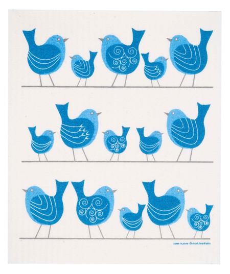 swedish dish cloth, birds on a wire