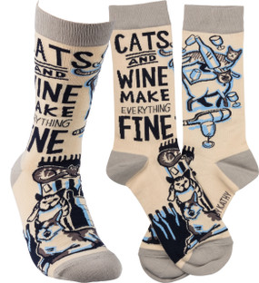 socks cats and wine, cat lover, wine lover, humorous, cotton, spandex, nylon, made by primatives by kathy