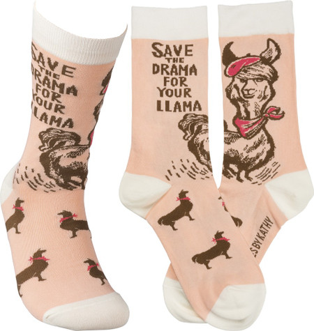 "Colorfully printed socks lending a ""Save The Drama For Your Llama"" sentiment with llama designs and hat and scarf accents.  Cotton, nylon, spandex.  One size fits most."