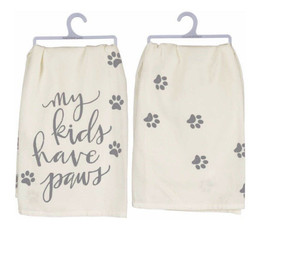 "A cotton dish towel lending a distressed ""My Kids Have Paws"" hand lettered sentiment with paw print designs."