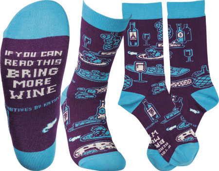 """Colorfully printed socks lending a bottom """"If You Can Read This Bring More Wine"""" sentiment with varying wine, cheese, and grape designs.  Cotton, nylon, spandex.  One size fits most."""