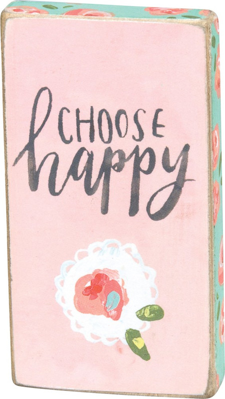 """A watercolor art-inspired wooden magnet lending a hand lettered """"Choose Happy"""" sentiment with floral designs. Complements well with coordinating designs for a charming décor collection.  Size:  1.75"""" x 3.25"""" x 0.50"""""""